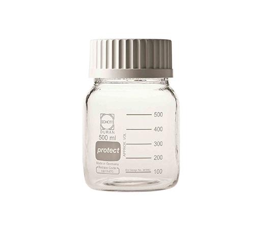 アズワン(AS ONE) 広口ねじ口瓶(デュラン(R)) キャップ白 500mL セーフティーコート仕様(1-2227-01)