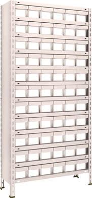 TRUSCO 軽量棚 875X300XH1800 樹脂引出NG 小X66 63V812E11(OP:NG)/1S【5105226】