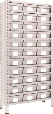 TRUSCO 軽量棚 875X300XH1800 樹脂引出NG 大X33 63V812F11(OP:NG)/1S【5105234】