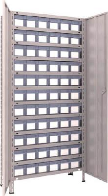TRUSCO 軽量棚扉付 875X383XH1800 樹脂引出透明 小X66 63VT812C11(OP:NG)/1S【5043646】