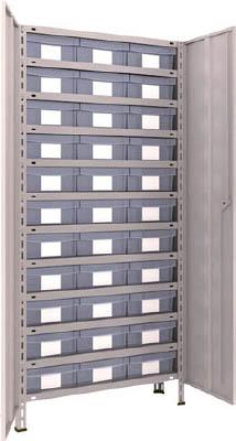 TRUSCO 軽量棚扉付 875X383XH1800 樹脂引出透明 大X33 63VT812D11(OP:NG)/1S【5043051】