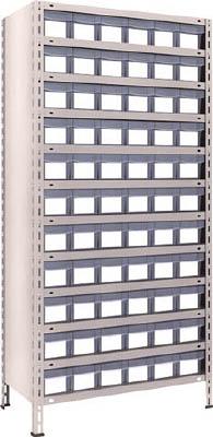 TRUSCO 軽量棚 875X450XH1800 樹脂引出透明 小X66 63X812C11(OP:NG)/1S【5033969】