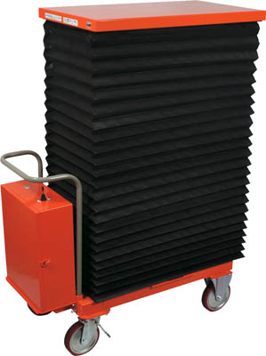 TRUSCO ハンドリフター 350kg 600X1050 電動昇降式 蛇腹付 HLAN350WJ/1台【4644409】