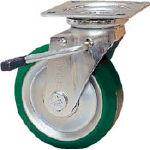 シシク スタンダードプレスキャスター ウレタン車輪 自在ストッパー付 250径 UWJB250/1個【1373102】