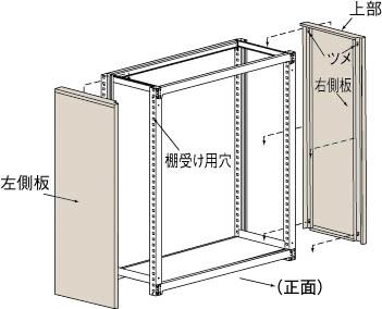 TRUSCO M3・M5型棚用はめ込み式側板 600XH1800 GMM66(OP:NG)/1S【4613783】