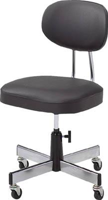 TRUSCO 事務椅子 ビニールレザー張り ブラック L2095/1脚【5035716】