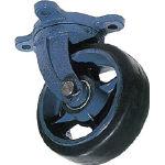 京町 鋳物製自在金具付ゴム車輪(幅広) AHJ300X90/1個【4583621】【運賃別途】