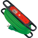 日動 ハンドリール 100V 3芯×10m 緑 アース過負荷漏電しゃ断器付 HREK102G/1台【1256874】