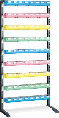 TRUSCO UPRラック H1900 ビン大青X12赤・黄・薄緑各8個付 蓋付 UPRL1809BF/1S【3933229】