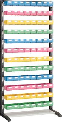 TRUSCO UPRラック片面 H1900 ビン小青・赤・黄・薄緑各24個付 UPRL1812A/1S【3933083】
