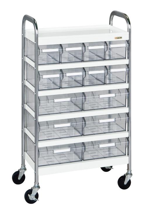 【正規販売店】 サカエ CSワゴン透明ボックス付 CSD-86T 【個人宅配送】:タニックスショップ 店-DIY・工具