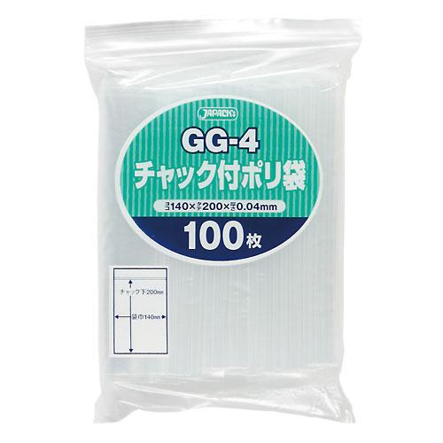 ジャパックス チャック付ポリ袋 GG-4 透明 [5000枚入] 0.04×140×200mm