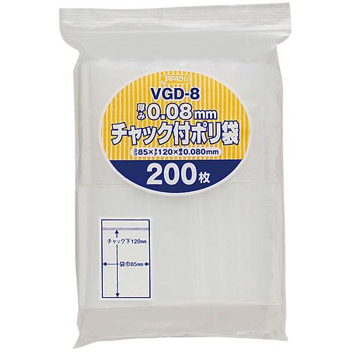 ジャパックス チャック付ポリ袋厚口 VGD-8 透明 [6000枚入] 0.08×85×120mm