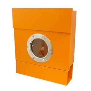 【郵便ポスト】レターマン2 カラー(オレンジ):新聞受け付きで便利!RADIUSラーディウスデザイン(簡易レバー付)