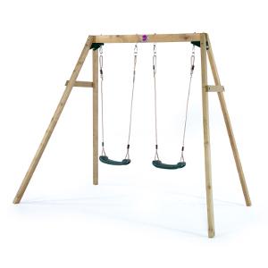 【配送先限定商品】欧州パイン屋外遊具 PLUM社2人用木製ブランコ