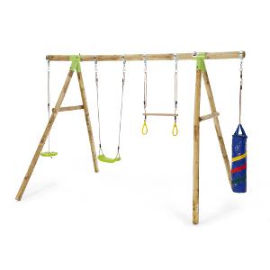 【配送先限定商品】欧州パイン屋外遊具 PLUM社カプチン木製ブランコセット