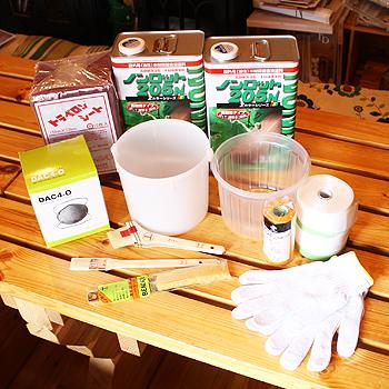 ビックボックスオリジナルログハウス外壁塗料セットノンロット3.5L缶x2 と 刷毛セット1人用