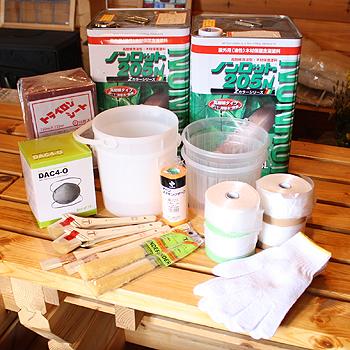 ビックボックスオリジナルログハウス外壁塗料セットノンロット14L缶x2 と 刷毛セット2人用