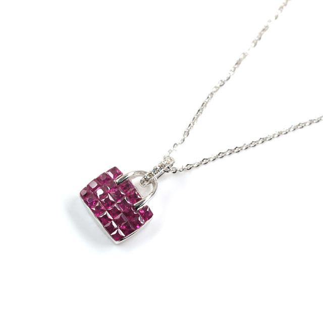 ルビー 0.80ct ペンダントネックレス K18WG メレダイヤモンド ( Ruby/紅玉/こうぎょく/18金ホワイトゴールド ) 【 2月23日の誕生日石 / 7月の誕生石 】 【 送料無料 】