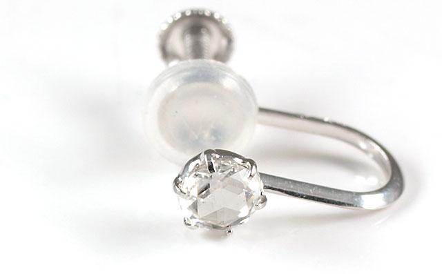 K18WG ローズカットダイヤモンド 片耳用イヤリング 加工