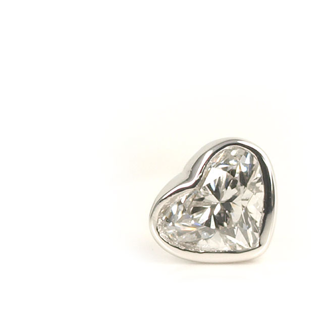 ハートシェイプ ダイヤモンド 片耳用ピアス Pt900 0.088ct, Dカラー, VS-2 プラチナ900 スタッドピアス 送料無料