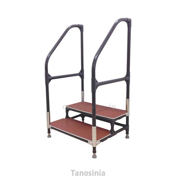 介護用品 手すり付ステップ台 ユニットタイプ 2段 CHE-2 (要マット・フレーム色指定)