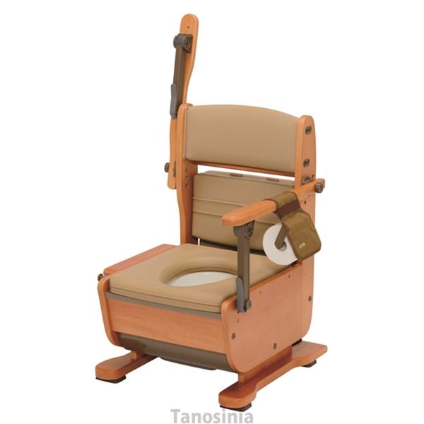 ポータブルトイレ さわやかチェア 泉 8257 ホット便座 肘掛けはね上げタイプ ウチエ ブラウン 木製 家具調