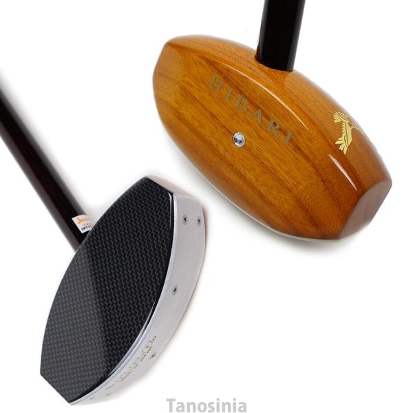 高級天然木クラブ「ひばり3」グラウンドゴルフ カーボンフェイス けやき無垢材