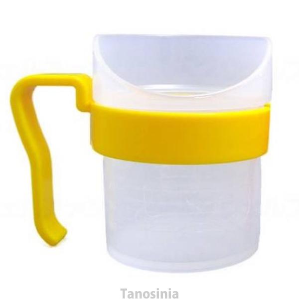 介護用品 商い 食事介助:茶碗 湯のみ むせを防げます レボ 白 持ち手黄 ギフト 大 Uコップ