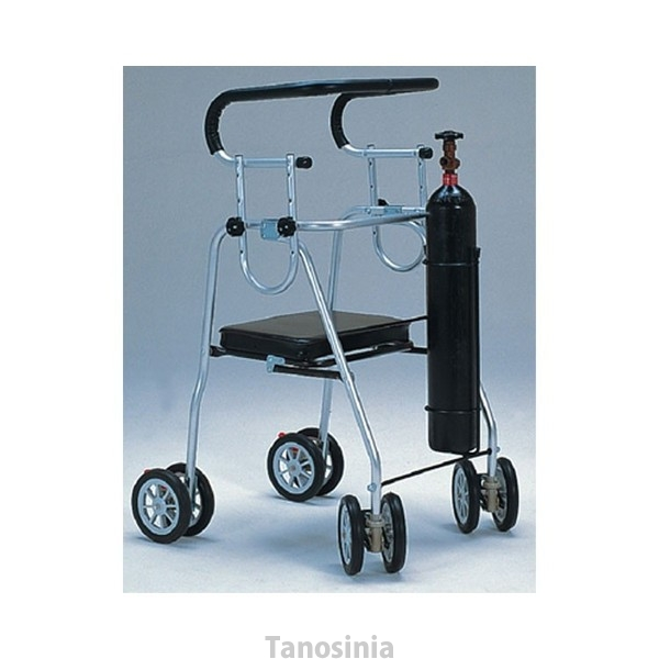 歩行器 介護用品 アシストシルバーカー ニューデラックス 酸素ボンベホルダー付 H0081 hkz 歩行車 リハビリ