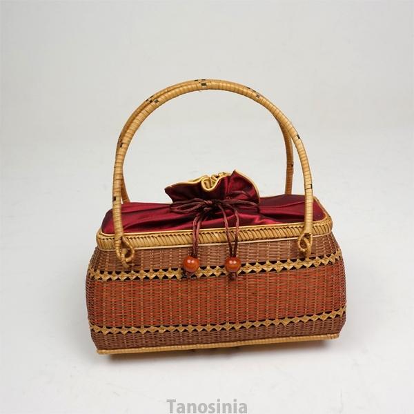 (送料無料) 竹編みバッグ 竹かご バスケット バンブー オレンジ あずき ゴールド 幅25cm 浴衣・和装 サテン内布付き 和風バック 巾着 籠 竹製 ござ目 婦人