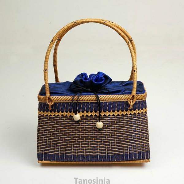 (送料無料) 竹編みバッグ 竹かご バスケット バンブー ブルー 幅25cm 浴衣・和装 サテン内布付き 和風バック 巾着 籠 竹製 ござ目