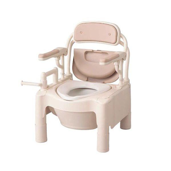 介護用品 排泄介護 ポータブルトイレFX-CPはね上げ キャスター付 870-074 アロン化成