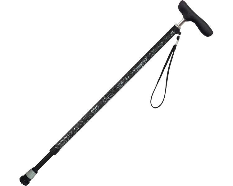 伸縮ジョイント型押し花柄ステッキ 伸縮杖 介護用品