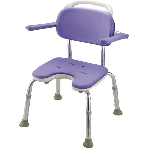 シャワーチェア 介護用品 風呂椅子 GR U型座面 コンパクト 背付 肘掛け付 B07002