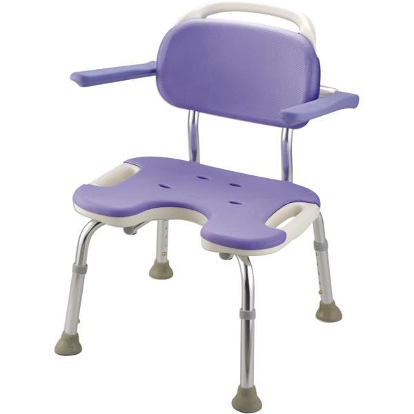 シャワーチェア 介護用品 風呂椅子 GR U型ワイド座面 背付 肘掛け付 B07102