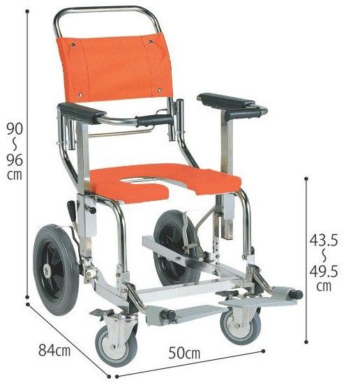 シャワーキャリーAG-LWG 後輪12インチタイプ 入浴用車いす 入浴用車椅子