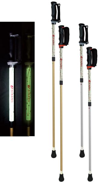 シナノ ウォーキングポール ひかる安心2本杖(2本組)光るあんしん二本杖 伸縮タイプ
