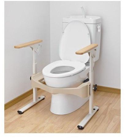 介護用品 洋式トイレ用フレームS はねあげR2 木製ひじ掛け トイレ用手すり