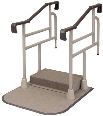 玄関用 自在手すり ツインディ 両手すり踏み台付 XPN-L80201 介護用品