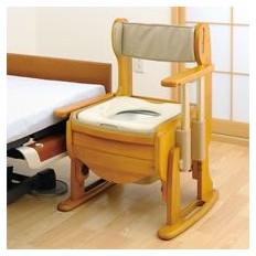 トイレ 脱臭機能付き木製ポータブルトイレ きらく 座優 肘掛昇降 暖房便座 18730 介護用品
