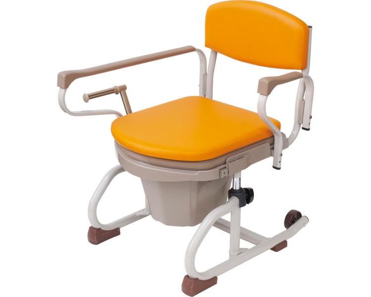 介護用品 ナーセントポータブルトイレ丸型 スチール製 ソフト便座 長短取っ手型