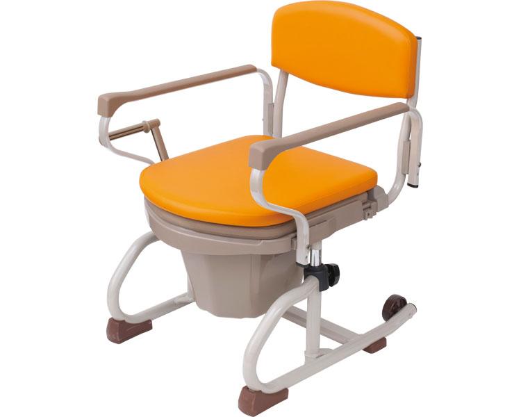 介護用品 ナーセントポータブルトイレ 丸型 スチール製 両中取っ手型