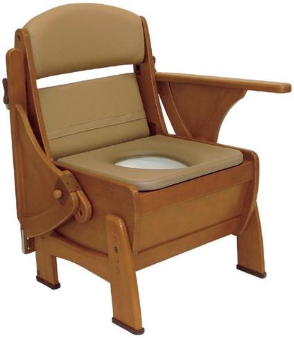 介護用品 排泄介護 ナーセントポータブルトイレ 木製ピボット型 キャスター無 ポータブルトイレ