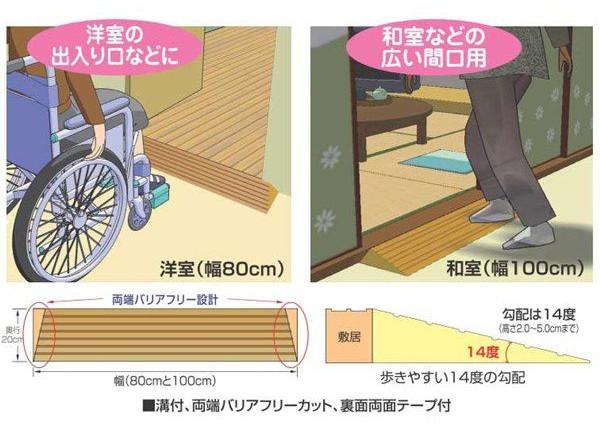 段差スロープ 段差解消タッチスロープ 高さ0.5cm×幅100cm 介護用品 和室向け