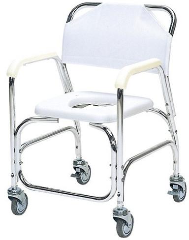 シャワーキャリー アルミ製シャワーチェア 後輪ダブルストッパー TY535E 入浴用車いす 入浴用車椅子