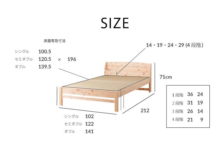 畳×檜 国産 ひのきベッド コンセント付き すのこベッド シングル 棚付き 高さ調整4段階 ひのきベッド シングルベッド スノコベッド ひのき ヒノキベッド フレーム すのこベット コンセント付き 宮付き 安全 檜 日本製 畳ベッド【代引き・後払い不可】