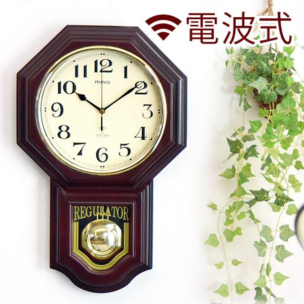 時計 掛時計 振り子時計 電波時計 壁掛け 電波 振り子 チャイム 八角形 爆安 送料無料 とけい ブラウン アンティーク 数量は多 おしゃれ ステップ