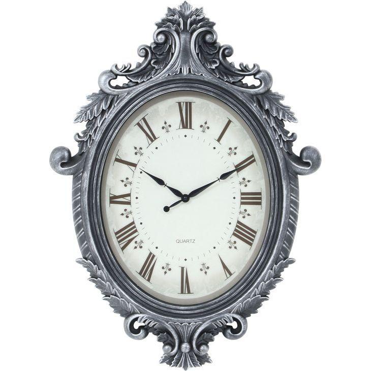 ★20時~4H全品P5倍★【送料無料】時計 掛時計 掛け時計 大きい時計 ビッグ 壁掛け 大きい 時計 銀色 シルバー 丸型 時計 アンティーク 風 おしゃれ とけい【代引き・後払い不可】