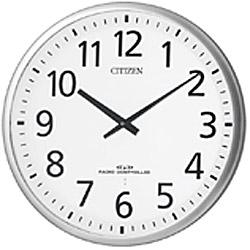 リズム時計 シチズン 電波時計 掛け時計 大型 長電池寿命 直径55cm 金属枠 スリーウェイブM821(シルバーヘアライン仕上げ) 4MY821-019